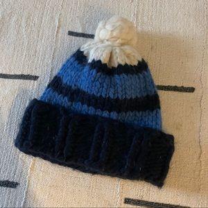Handmade merino wool blue navy pompom winter hat